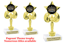 "Pageant theme trophy.  6"" tall with choice of base and numerous titles.  7517"