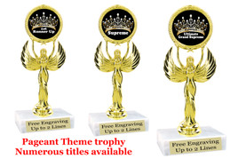 "Pageant theme trophy.  6"" tall with choice of base and numerous titles. 80087"
