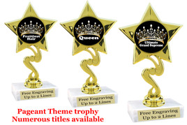 "Pageant theme trophy.  6"" tall with choice of base and numerous titles. 80106"