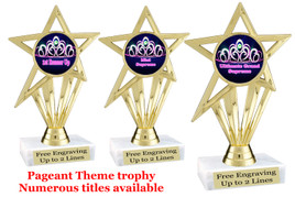 """Pageant theme trophy.  6"""" tall with choice of base and numerous titles. (crown 2) PH30"""