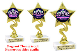"Pageant theme trophy.  6"" tall with choice of base and numerous titles. (crown 2) 80106"
