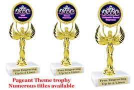 "Pageant theme trophy.  6"" tall with choice of base and numerous titles. (crown 2) 80087"