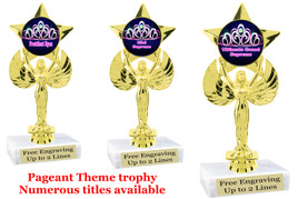 "Pageant theme trophy.  6"" tall with choice of base and numerous titles. (crown 2) 7517"