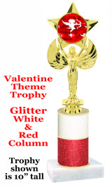 Valentine Theme Glitter trophy with colorful art work insert.  Red & White Glitter Column. Available in numerous trophy heights.   Valentine 001