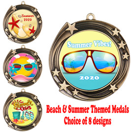 Summer - Beach theme medal.  Antique Gold medal finish.  Choice of 8 designs.  Includes free engraving and neck ribbon  (930gold)