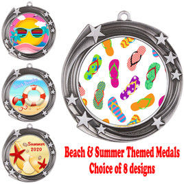 Summer - Beach theme medal.  Silver medal finish.  Choice of 8 designs.  Includes free engraving and neck ribbon  (930silver