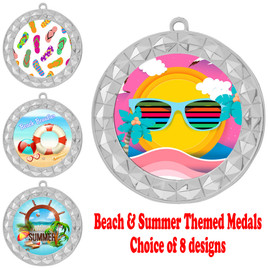 Summer - Beach theme medal.  Silver medal finish.  Choice of 8 designs.  Includes free engraving and neck ribbon  (935silver