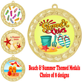 Summer - Beach theme medal.  Gold medal finish.  Choice of 8 designs.  Includes free engraving and neck ribbon  (935gold