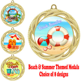 Summer - Beach theme medal.  Gold medal finish.  Choice of 8 designs.  Includes free engraving and neck ribbon  (938gold