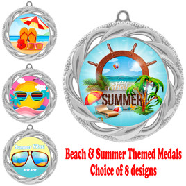Summer - Beach theme medal.  Silver medal finish.  Choice of 8 designs.  Includes free engraving and neck ribbon  (938silver