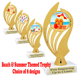 """Summer - Beach theme trophy.    6"""" tall. Choice of art work and base.  Includes free engraving  (ph102)"""