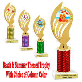 Summer - Beach theme trophy.  Choice of trophy height, column color and base. (ph102)