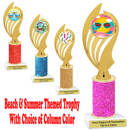 Summer - Beach theme trophy.  Glitter Column with choice of trophy height, column color and base. (ph102)