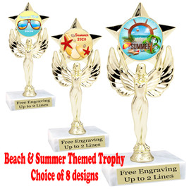 """Summer - Beach theme trophy.    6"""" tall. Choice of art work and base.  Includes free engraving  (7517"""