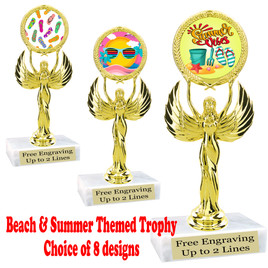 """Summer - Beach theme trophy.    6"""" tall. Choice of art work and base.  Includes free engraving  (80087"""