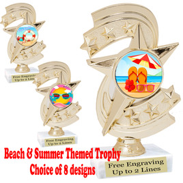 "Summer - Beach theme trophy.    6"" tall. Choice of art work and base.  Includes free engraving  (h300"