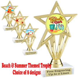 """Summer - Beach theme trophy.    6"""" tall. Choice of art work and base.  Includes free engraving  (ph30"""