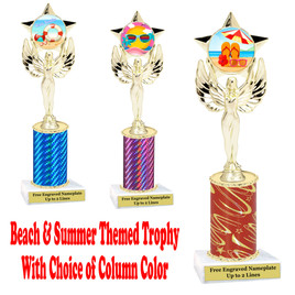 Summer - Beach theme trophy.  Choice of trophy height, column color and base. (7517