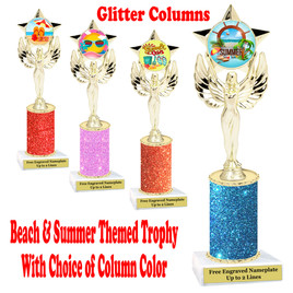 Summer - Beach theme trophy.  Glitter Column with choice of trophy height, column color and base. (7517