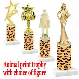 """Go """"wild"""" with your awards!  Animal Print Trophy with choice of figure and trophy height.  Trophy heights starts at 10"""" tall  (001)"""