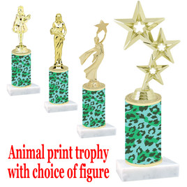 """Go """"wild"""" with your awards!  Animal Print Trophy with choice of figure and trophy height.  Trophy heights starts at 10"""" tall  (003"""