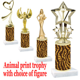 """Go """"wild"""" with your awards!  Animal Print Trophy with choice of figure and trophy height.  Trophy heights starts at 10"""" tall  (004"""
