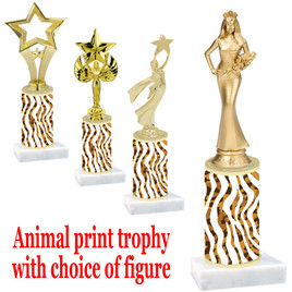"""Go """"wild"""" with your awards!  Animal Print Trophy with choice of figure and trophy height.  Trophy heights starts at 10"""" tall  (005"""