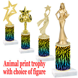 """Go """"wild"""" with your awards!  Animal Print Trophy with choice of figure and trophy height.  Trophy heights starts at 10"""" tall  (010"""