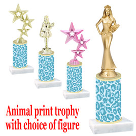 """Go """"wild"""" with your awards!  Animal Print Trophy with choice of figure and trophy height.  Trophy heights starts at 10"""" tall  (013"""