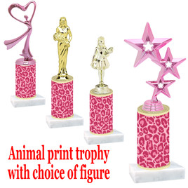 """Go """"wild"""" with your awards!  Animal Print Trophy with choice of figure and trophy height.  Trophy heights starts at 10"""" tall  (014"""