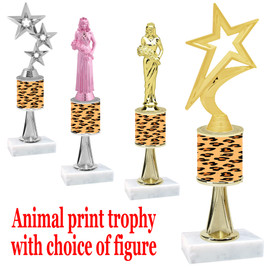 """Go """"wild"""" with your awards!  Animal Print Trophy with choice of figure and trophy height.  Trophy heights starts at 10"""" tall  (stem001"""