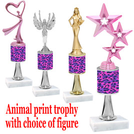 """Go """"wild"""" with your awards!  Animal Print Trophy with choice of figure and trophy height.  Trophy heights starts at 10"""" tall  (stem002"""