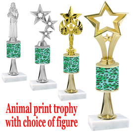 """Go """"wild"""" with your awards!  Animal Print Trophy with choice of figure and trophy height.  Trophy heights starts at 10"""" tall  (stem003"""