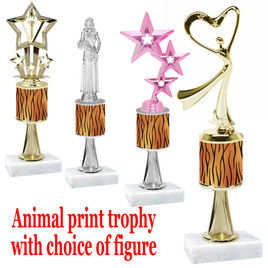 """Go """"wild"""" with your awards!  Animal Print Trophy with choice of figure and trophy height.  Trophy heights starts at 10"""" tall  (stem007"""