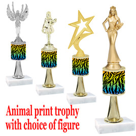 """Go """"wild"""" with your awards!  Animal Print Trophy with choice of figure and trophy height.  Trophy heights starts at 10"""" tall  (stem010"""