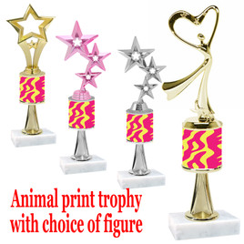 """Go """"wild"""" with your awards!  Animal Print Trophy with choice of figure and trophy height.  Trophy heights starts at 10"""" tall  (stem012"""