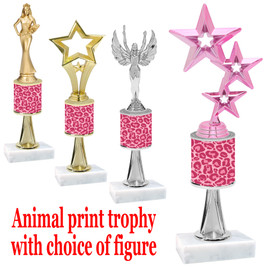 """Go """"wild"""" with your awards!  Animal Print Trophy with choice of figure and trophy height.  Trophy heights starts at 10"""" tall  (stem014"""