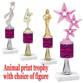 """Go """"wild"""" with your awards!  Animal Print Trophy with choice of figure and trophy height.  Trophy heights starts at 10"""" tall  (stem016"""