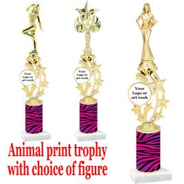 """Custom Trophy.  Animal Print column with choice of figure and trophy height.  Height starts at 14"""".  Upload your logo or custom art work.  (mr200-003"""