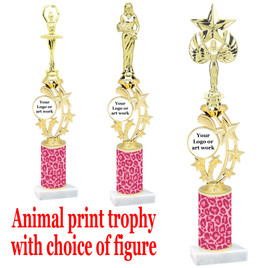 """Custom Trophy.  Animal Print column with choice of figure and trophy height.  Height starts at 14"""".  Upload your logo or custom art work.  (mr200-004"""