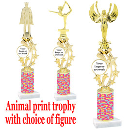"""Custom Trophy.  Animal Print column with choice of figure and trophy height.  Height starts at 14"""".  Upload your logo or custom art work.  (mr200-006"""