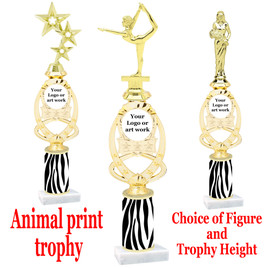 """Custom Trophy.  Animal Print column with choice of figure and trophy height.  Height starts at 14"""".  Upload your logo or custom art work.  (mr700-003"""