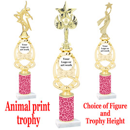 """Custom Trophy.  Animal Print column with choice of figure and trophy height.  Height starts at 14"""".  Upload your logo or custom art work.  (mr700-004"""