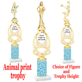 """Custom Trophy.  Animal Print column with choice of figure and trophy height.  Height starts at 14"""".  Upload your logo or custom art work.  (mr700-005"""