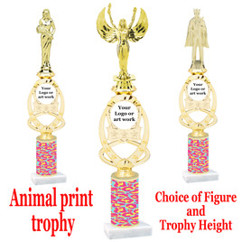 """Custom Trophy.  Animal Print column with choice of figure and trophy height.  Height starts at 14"""".  Upload your logo or custom art work.  (mr700-006"""