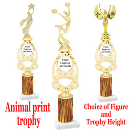 """Custom Trophy.  Animal Print column with choice of figure and trophy height.  Height starts at 14"""".  Upload your logo or custom art work.  (mr700-010"""