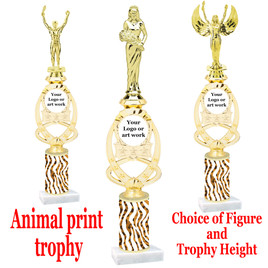 """Custom Trophy.  Animal Print column with choice of figure and trophy height.  Height starts at 14"""".  Upload your logo or custom art work.  (mr700-012"""