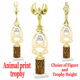"""Custom Trophy.  Animal Print column with choice of figure and trophy height.  Height starts at 14"""".  Upload your logo or custom art work.  (mr700-013"""