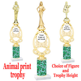 """Custom Trophy.  Animal Print column with choice of figure and trophy height.  Height starts at 14"""".  Upload your logo or custom art work.  (mr700-014"""