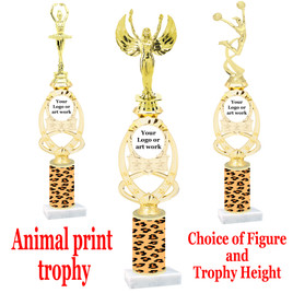 """Custom Trophy.  Animal Print column with choice of figure and trophy height.  Height starts at 14"""".  Upload your logo or custom art work.  (mr700-016"""
